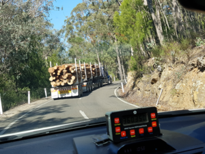 View from a car to a truck with logs on the great alpine road