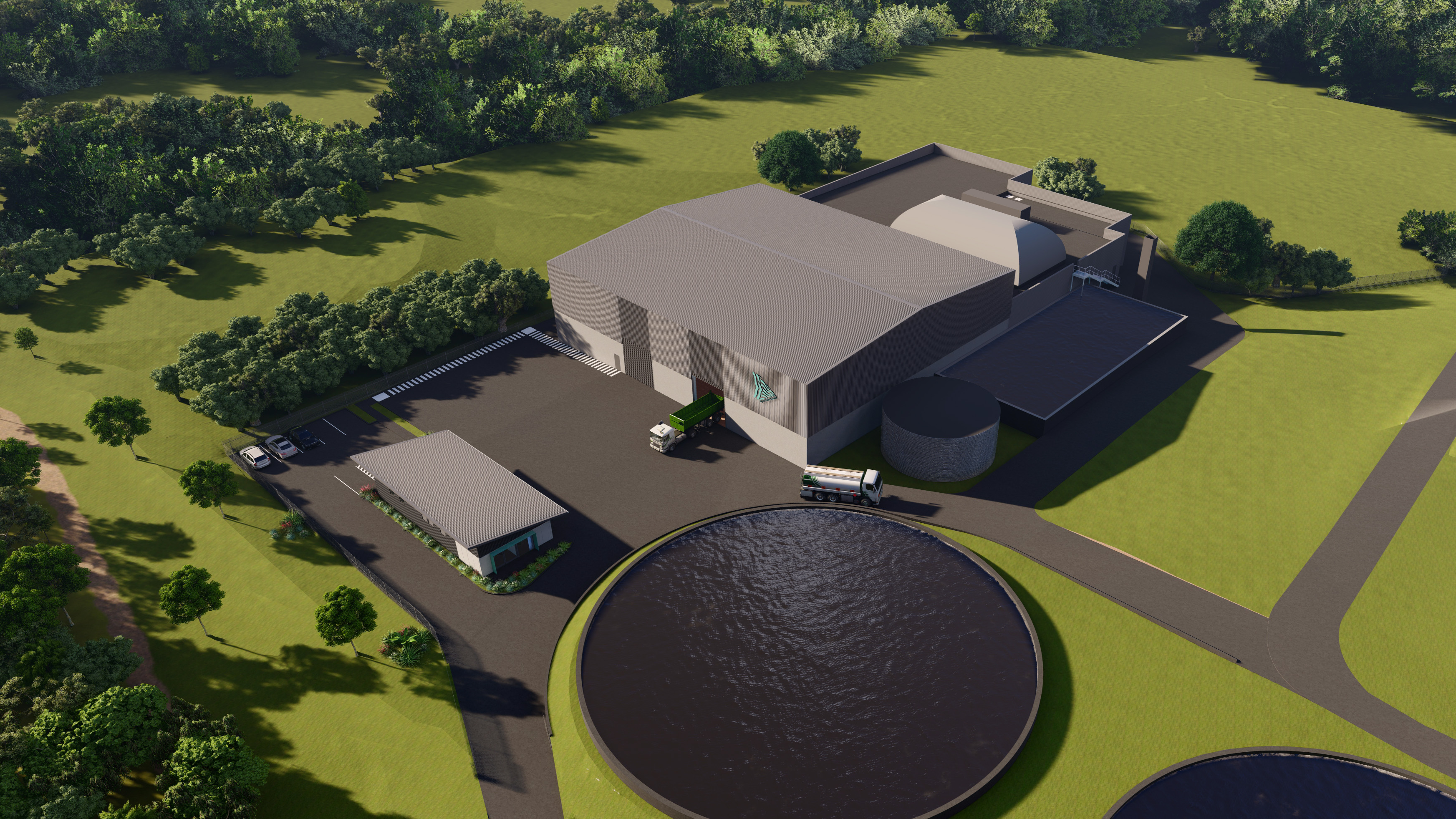 Artist's impression of aerial view of bioenergy facility