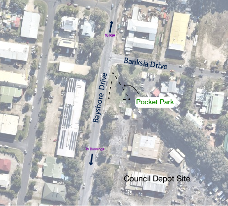 Map showing the location of the Pocket Park - A small triangular area bounded by Bayshore Drive, Banksia Drive and the Council Depot