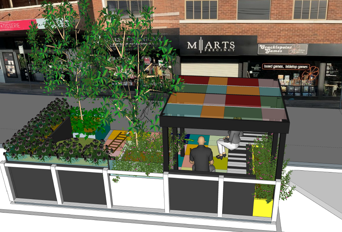 An artist's impression of a pop-up parklet to be unveiled in Murwillumbah.