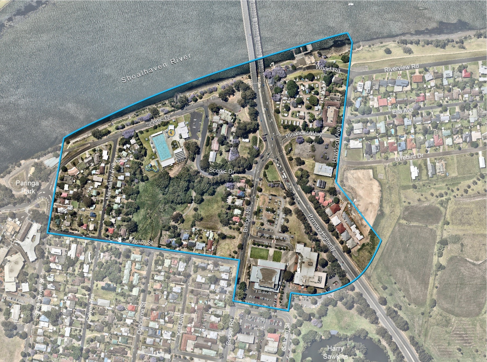 Nowra's Riverfront Precinct is bound by Scenic Drive to the north, Hawthorn Avenue to the east, Hyam Street and Graham Street to the south and Shoalhaven Street to the west (outlined in blue on the map).