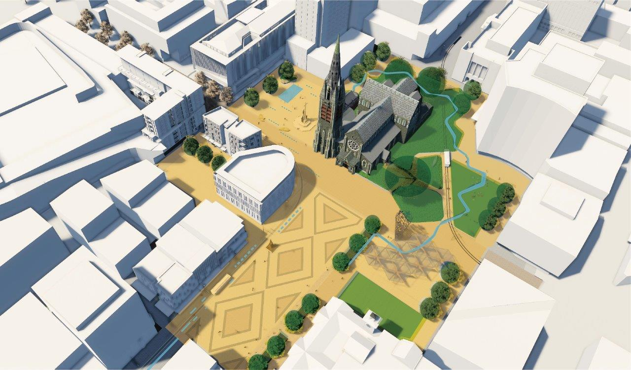 Artist's impression: oblique aerial view of water and planted areas in Cathedral Square and surrounds