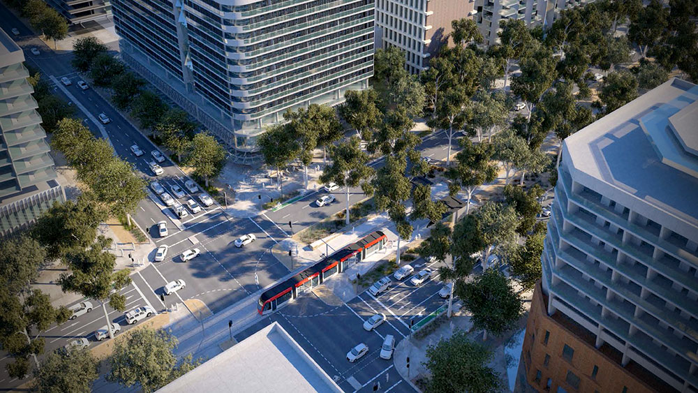 Artist's impression of Northbourne Avenue at Macarthur Avenue intersection