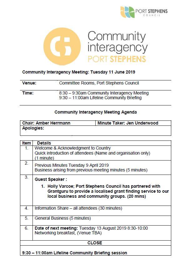 Community interagency agenda