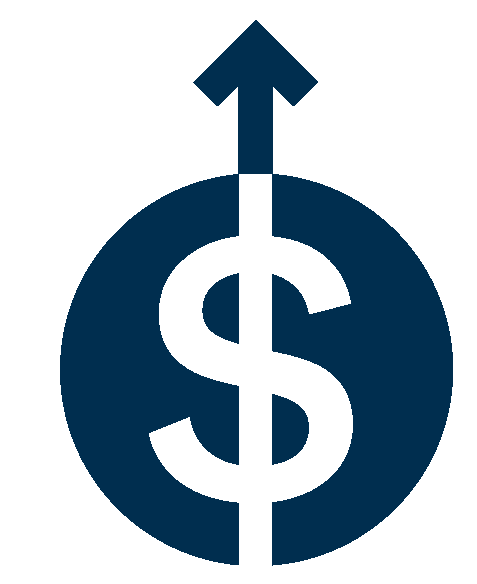 Illustration of a dollar sign and an upward arrow.