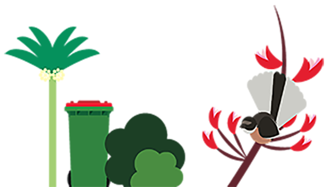Illustration of a palm tree, rubbish bin, trees and a bird on a branch.