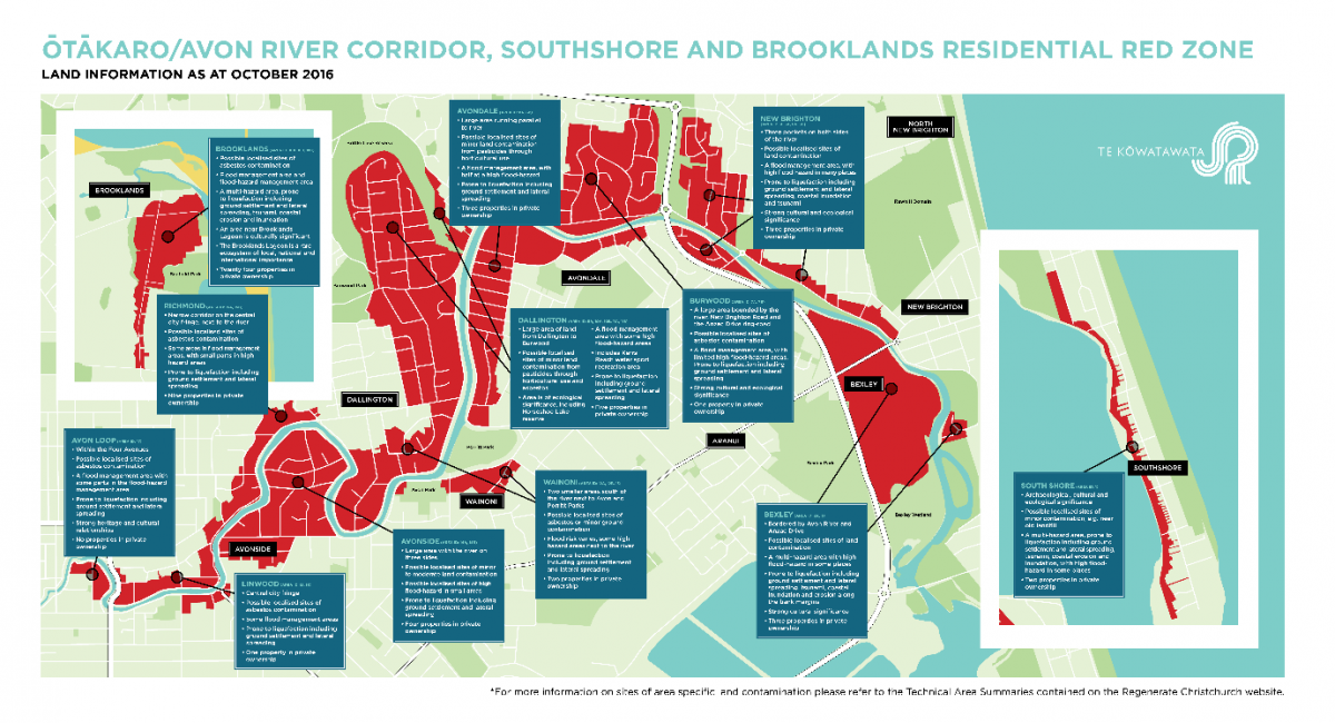 Map diagram of Ōtākaro Avon River Corridor, Southshore and Brooklands residential red zone