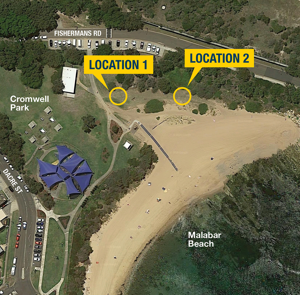 Image of location options for Malabar outdoor gym