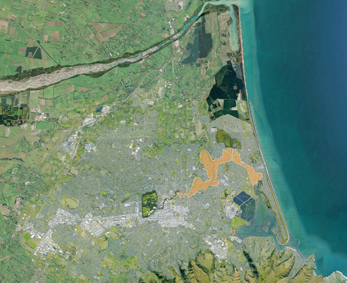 Aerial image showing the Regeneration Area in the context of Greater Christchurch