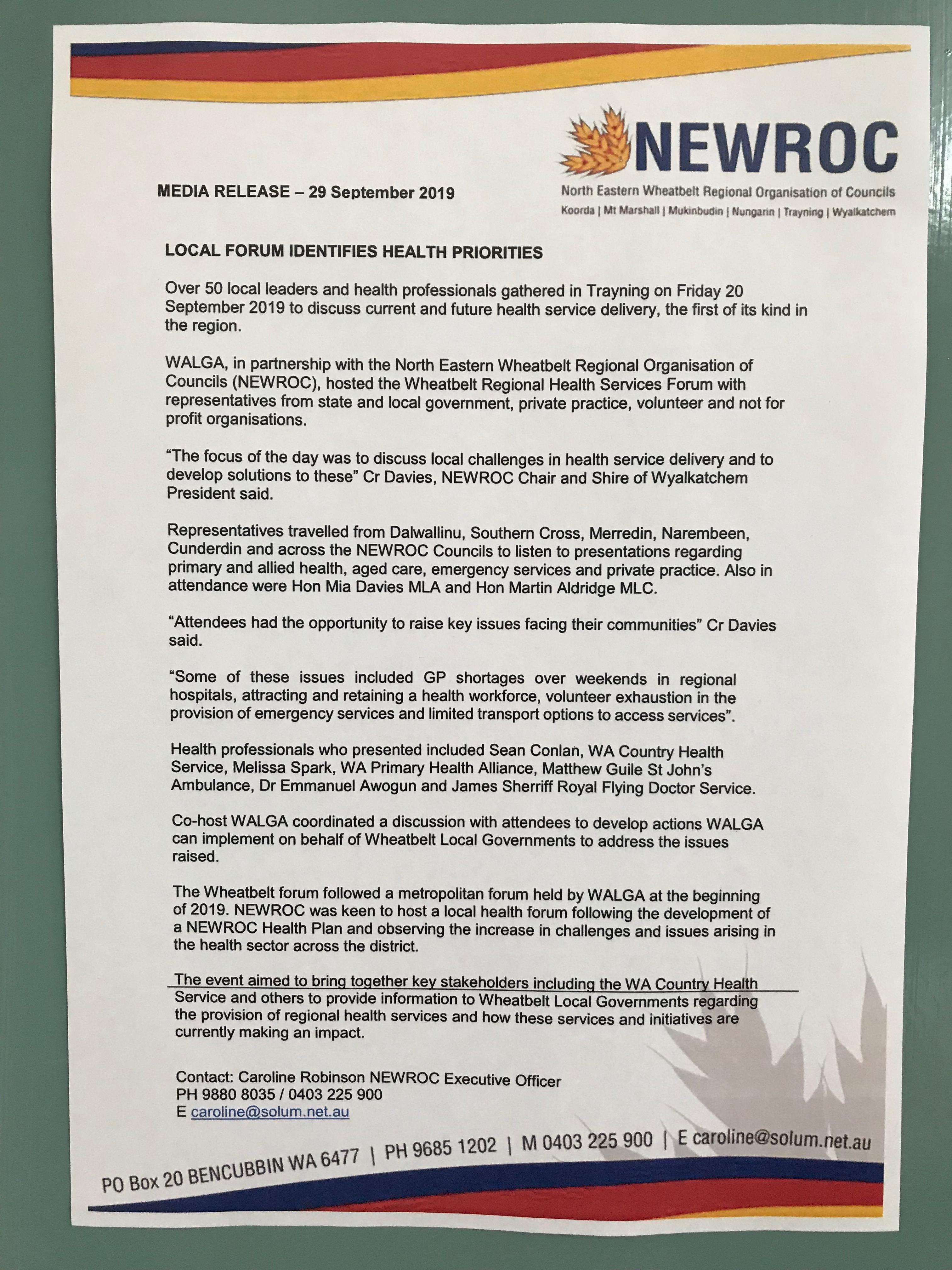 Newroc media release