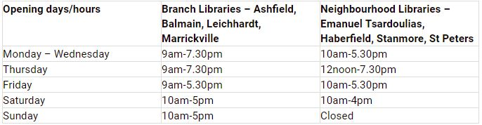 New library operating hours