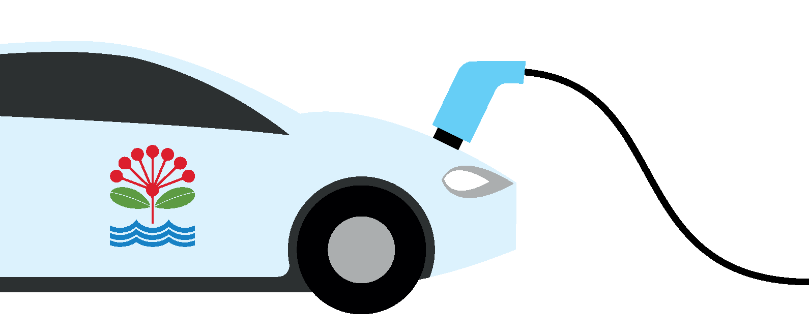 Illustration of an electric car with the Auckland Council logo and a charging cable running from the bonnet.