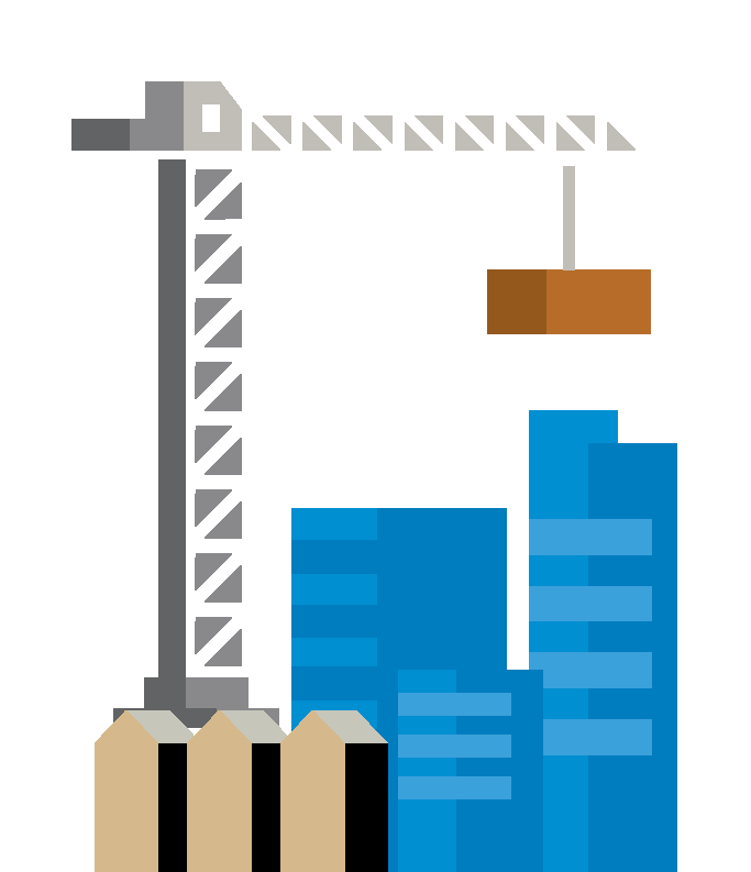 Illustration of a crane and building sites, depicting our investment in infrastructure.