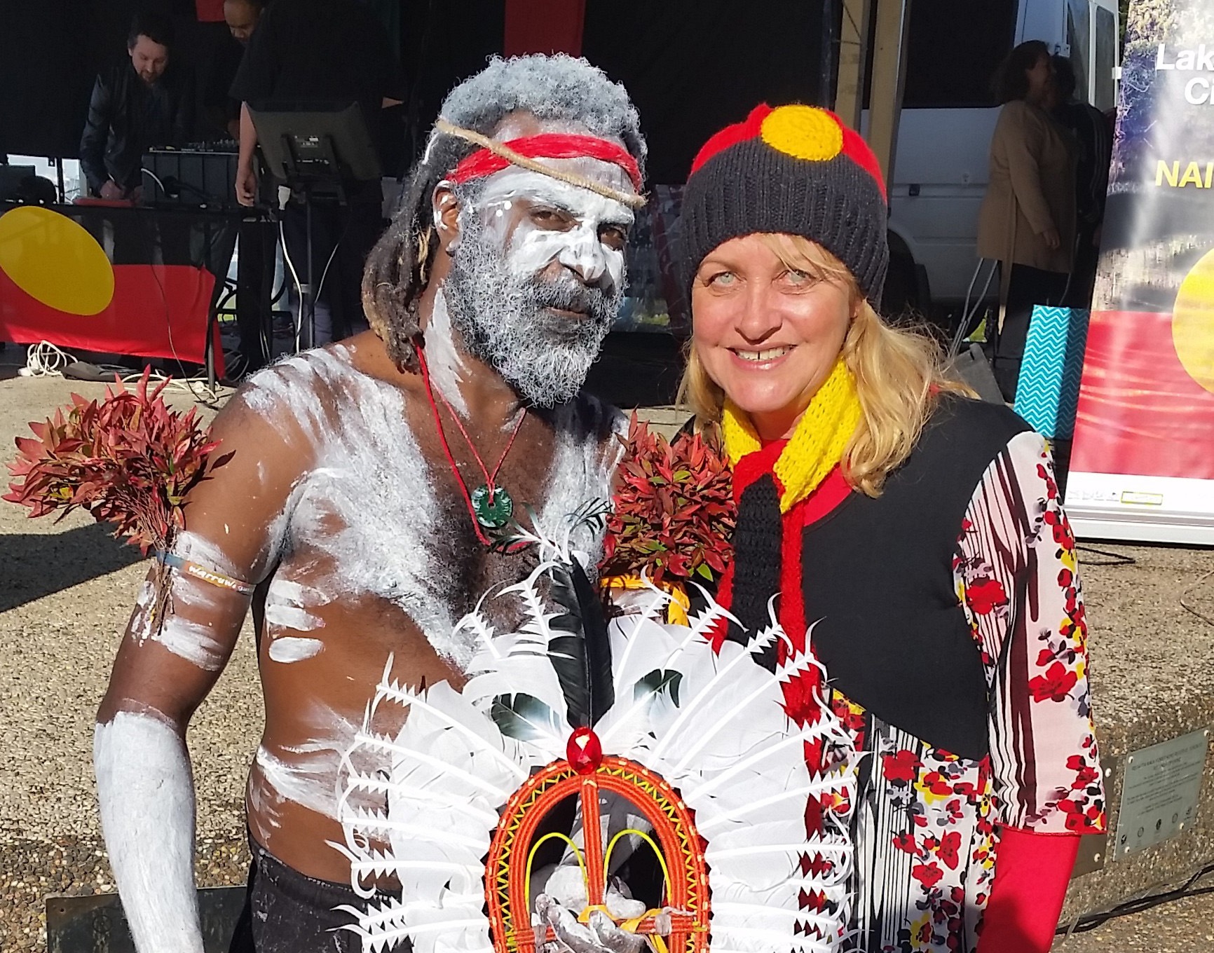 Maree edwards with a torres strait islander performer at naidoc week celebrations