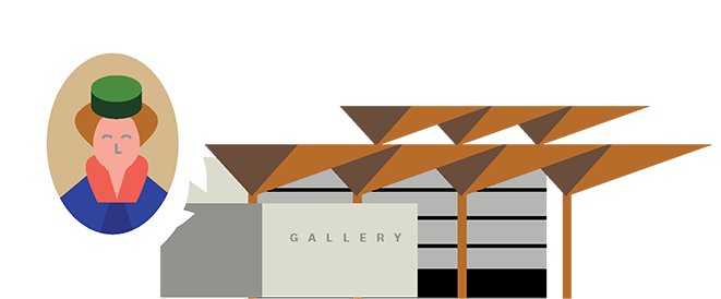 Illustration of the Auckland Art Gallery with a woman's portrait on the side.