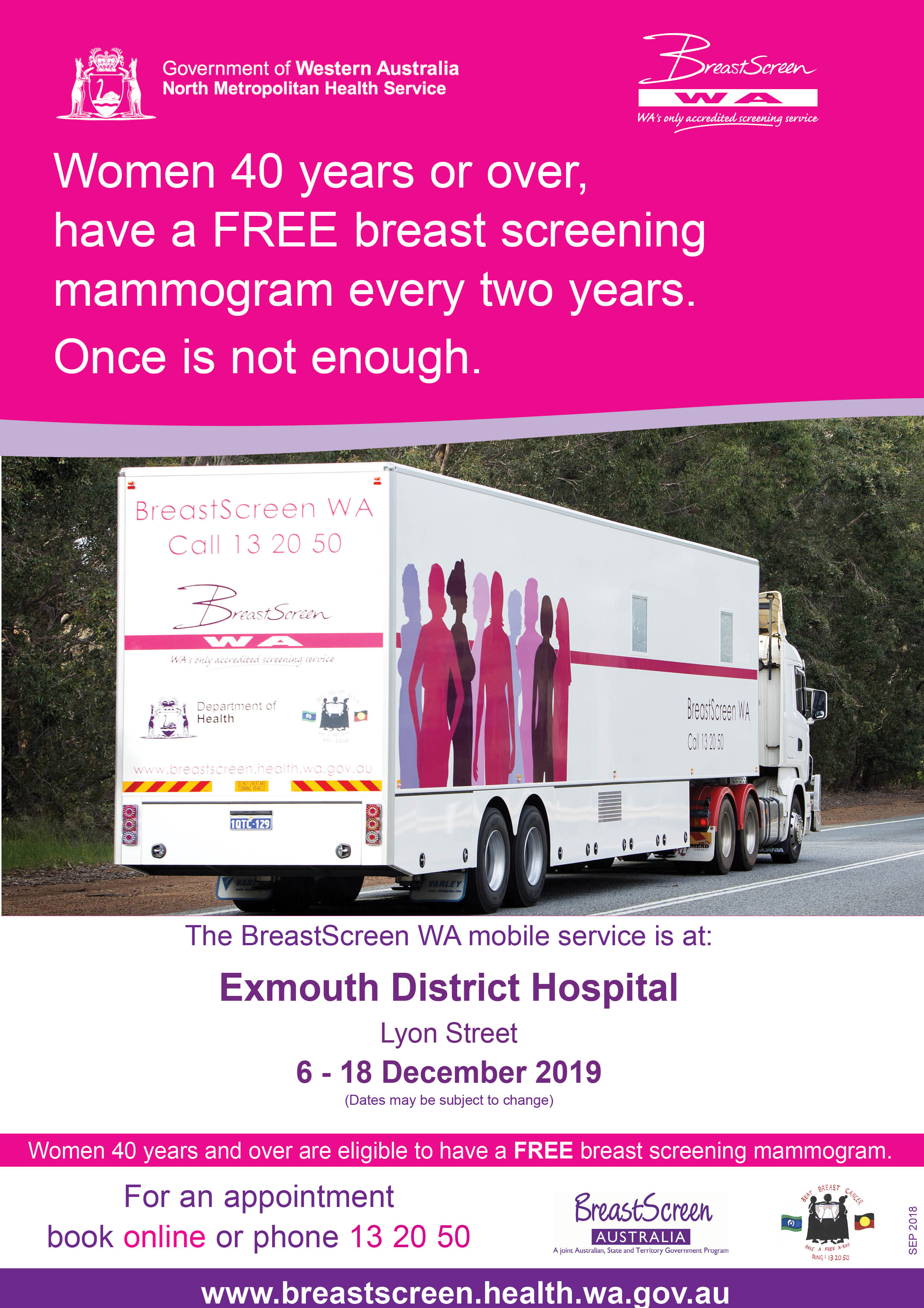 Breastscreen wa mobile visit exmouth 2019   rural a4 poster