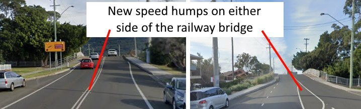 New speed humps on either side of the railway bridge