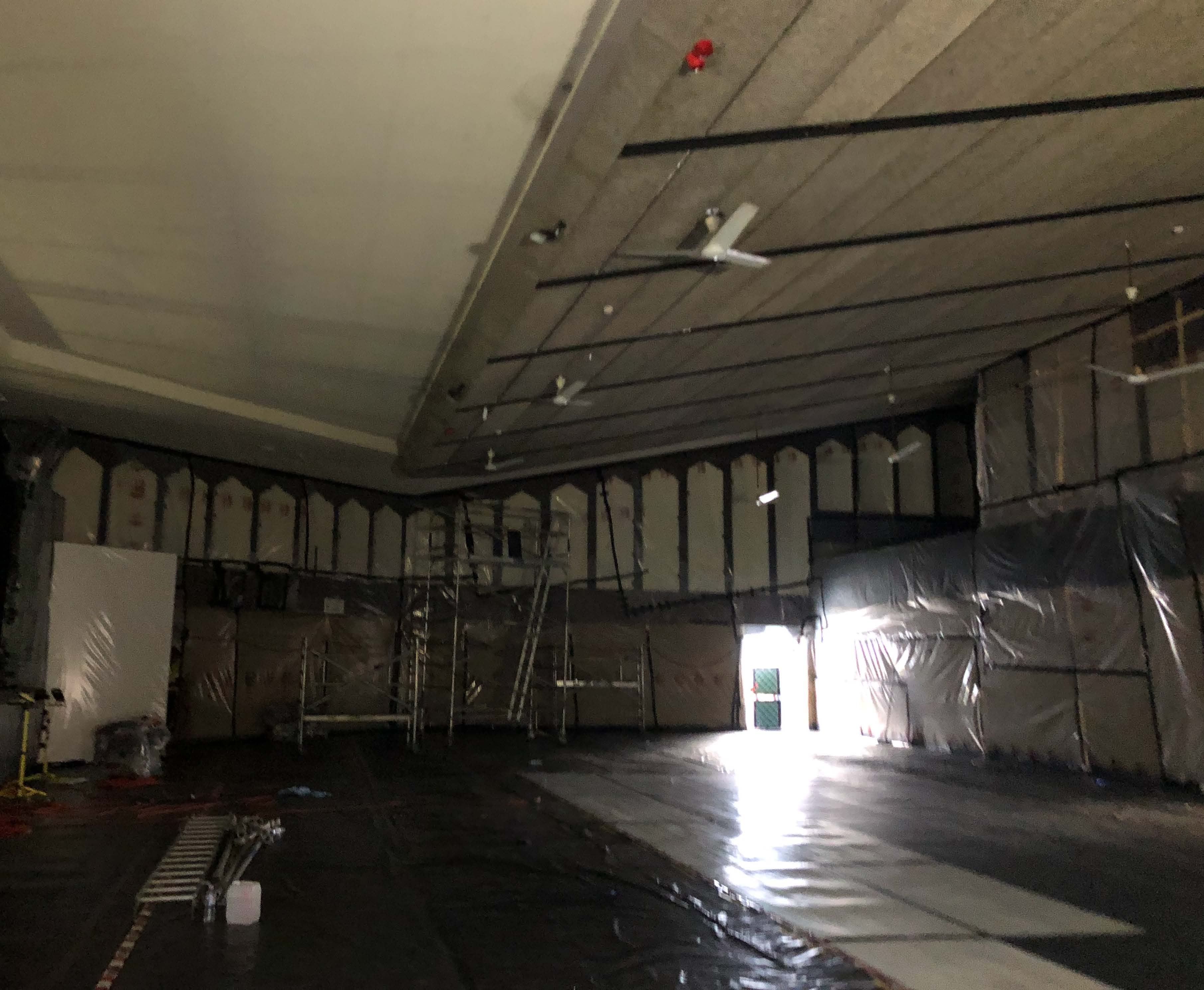 Asbestos removal works occurirng inside the auditorium