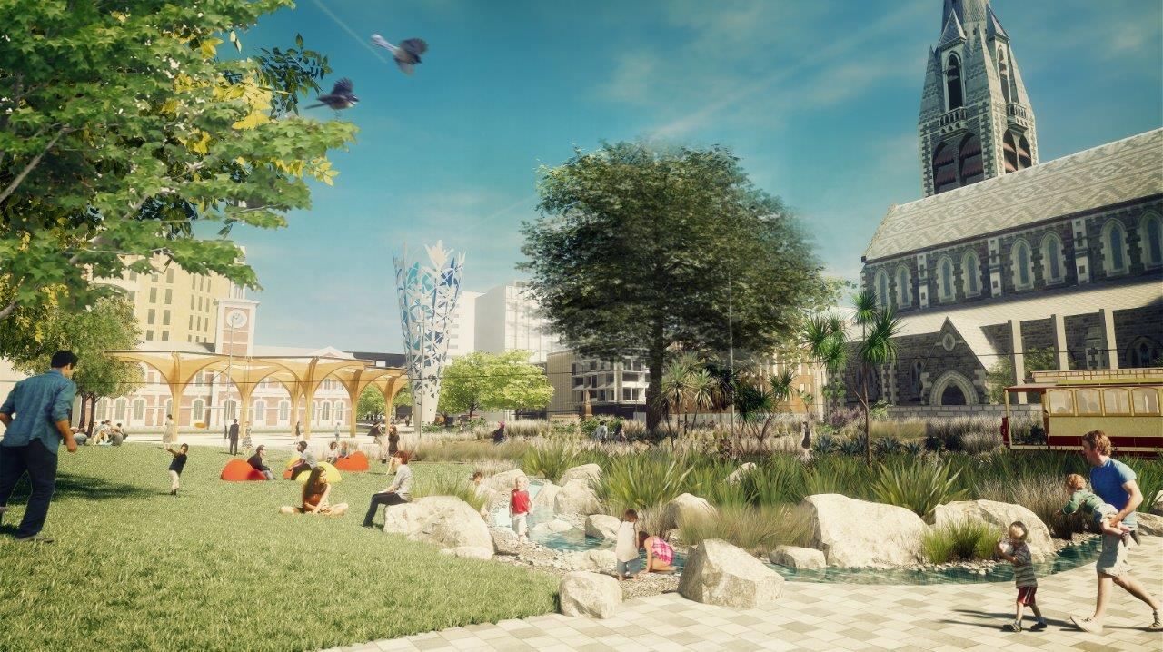 Artist's impression of Cathedral Gardens.