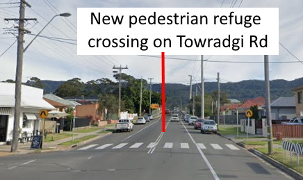 New pedestrian refuge crossing on Towradgi Road