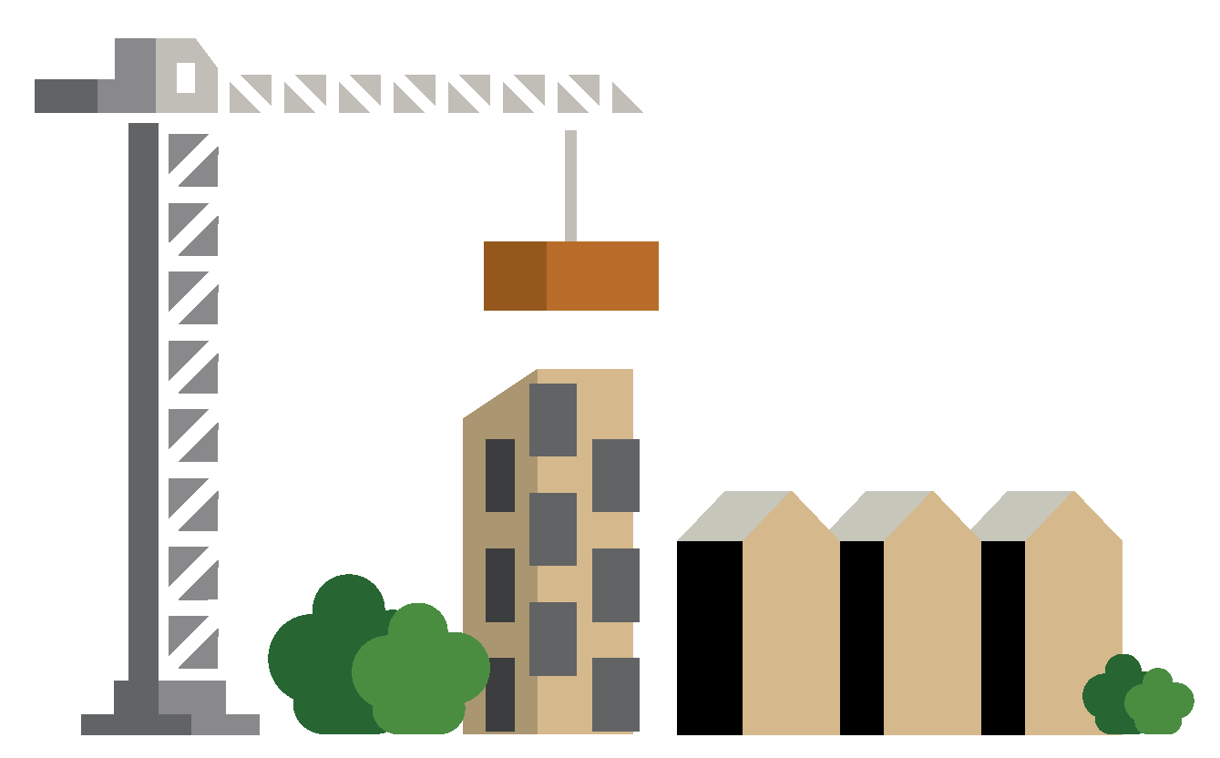 Illustration of a crane and building sites.
