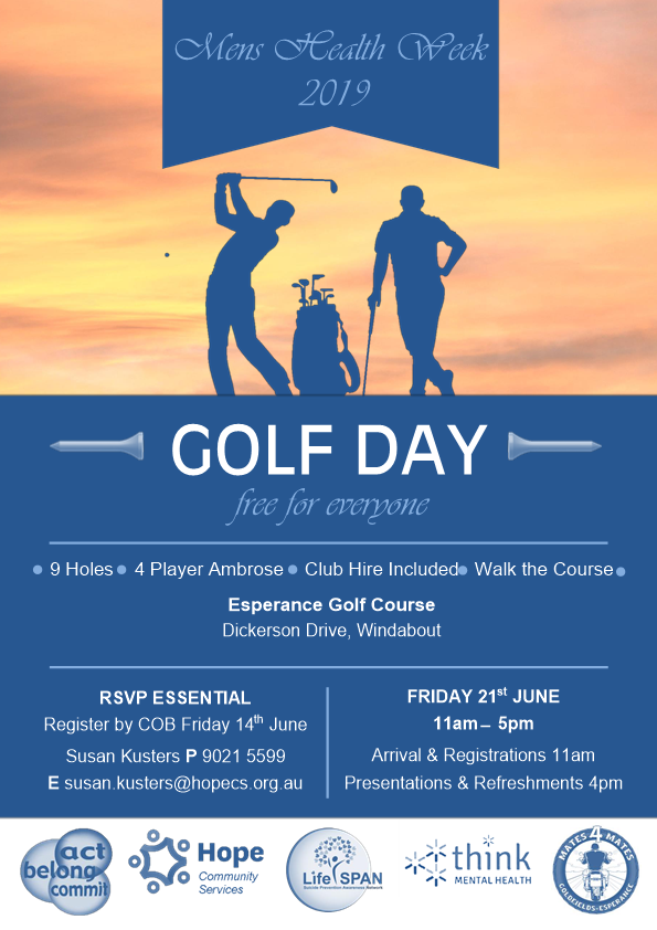 Mens health week golf day esperance poster