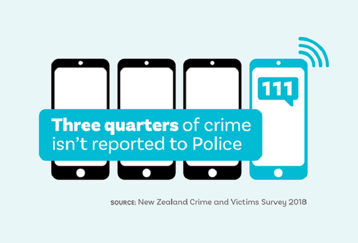 Infographic showing instance of crime reporting in New Zealand.