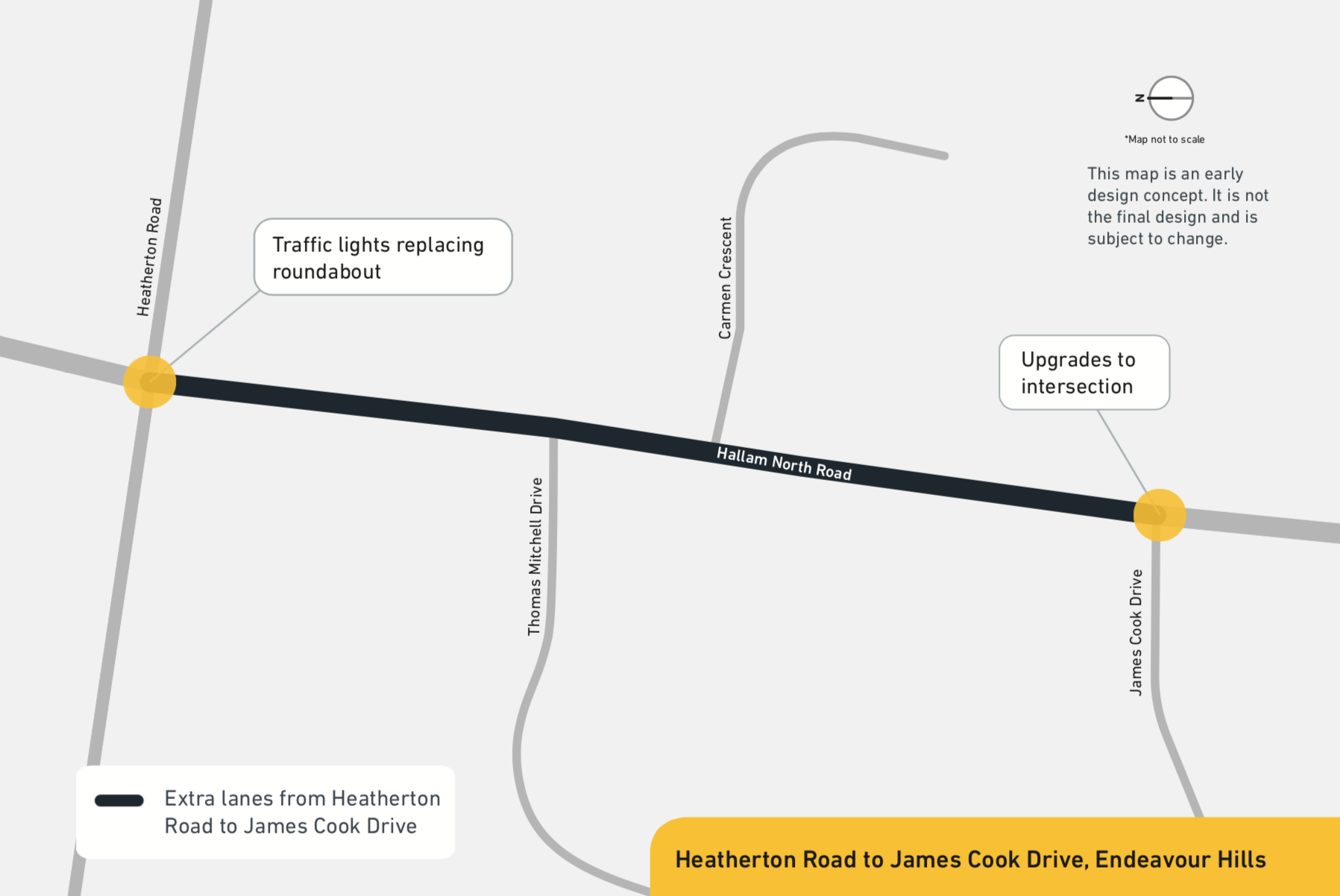 As part of the upgrade, we plan to: add an extra lane in each direction between Heatherton Road and James Cook Drive upgrade the roundabout with traffic lights at Heatherton Road build a walking and cycling path install safety barriers along the road.