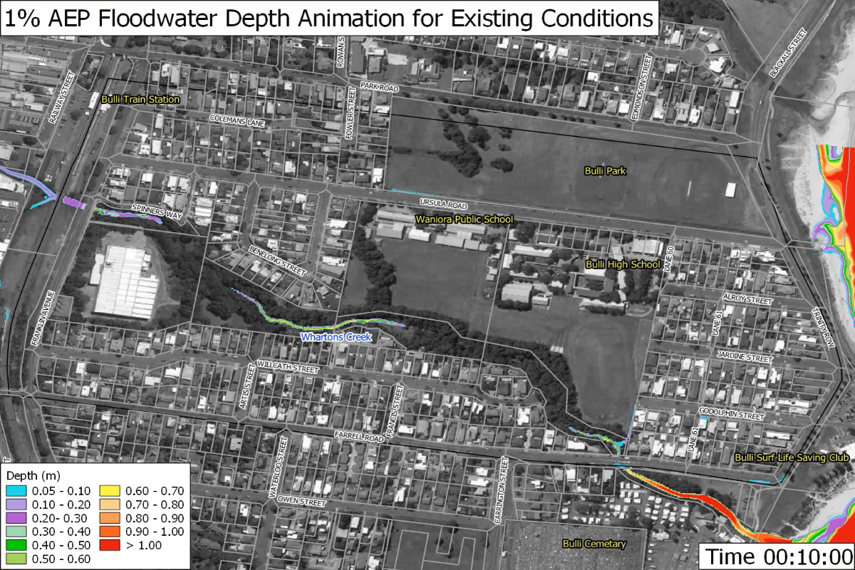 1%  AEP floodwater depth animation for existing conditions
