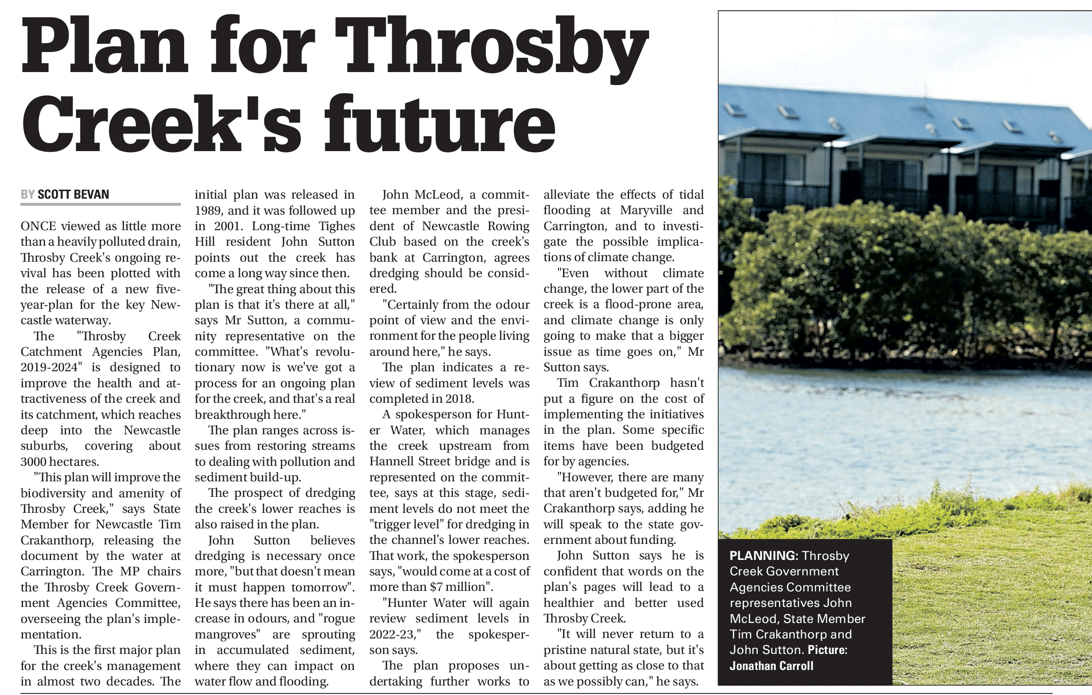 Plan for throsby creek's future   newcastle herald 4 june 2019