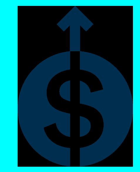 Illustration of a dollar sign and an upward arrow.
