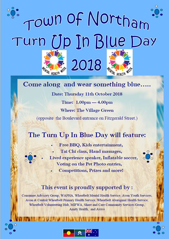 Turn up in blue poster