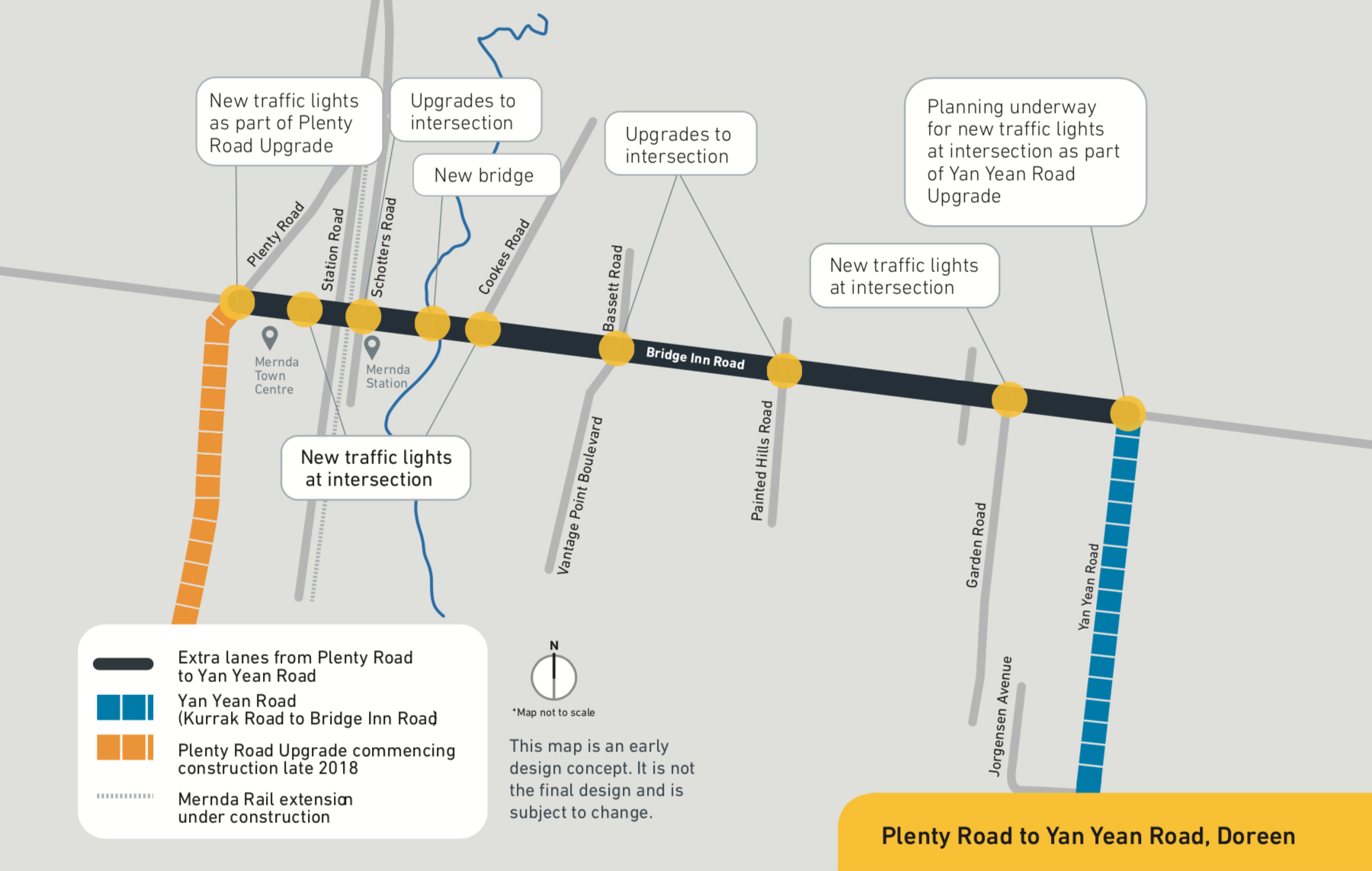 As part of the upgrade, we plan to: add an extra lane in each direction between Plenty Road and Yan Yean Road install new and upgrade existing intersections build a new bridge over Plenty River and upgrade the existing bridge build a walking and cycling path install safety barriers along the road.