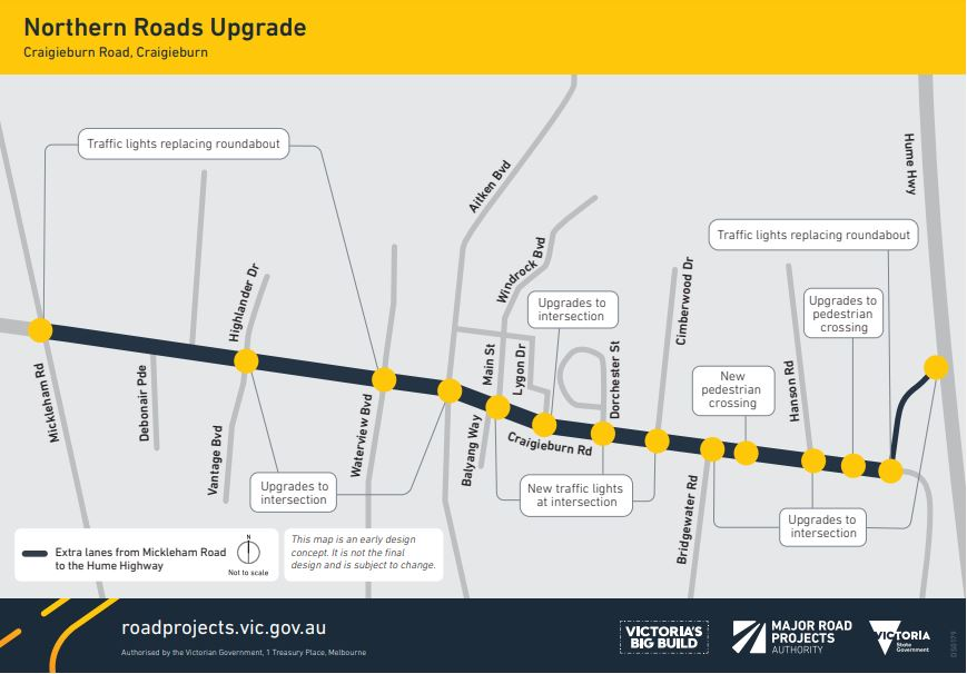 Map of the proposed Craigieburn Road design