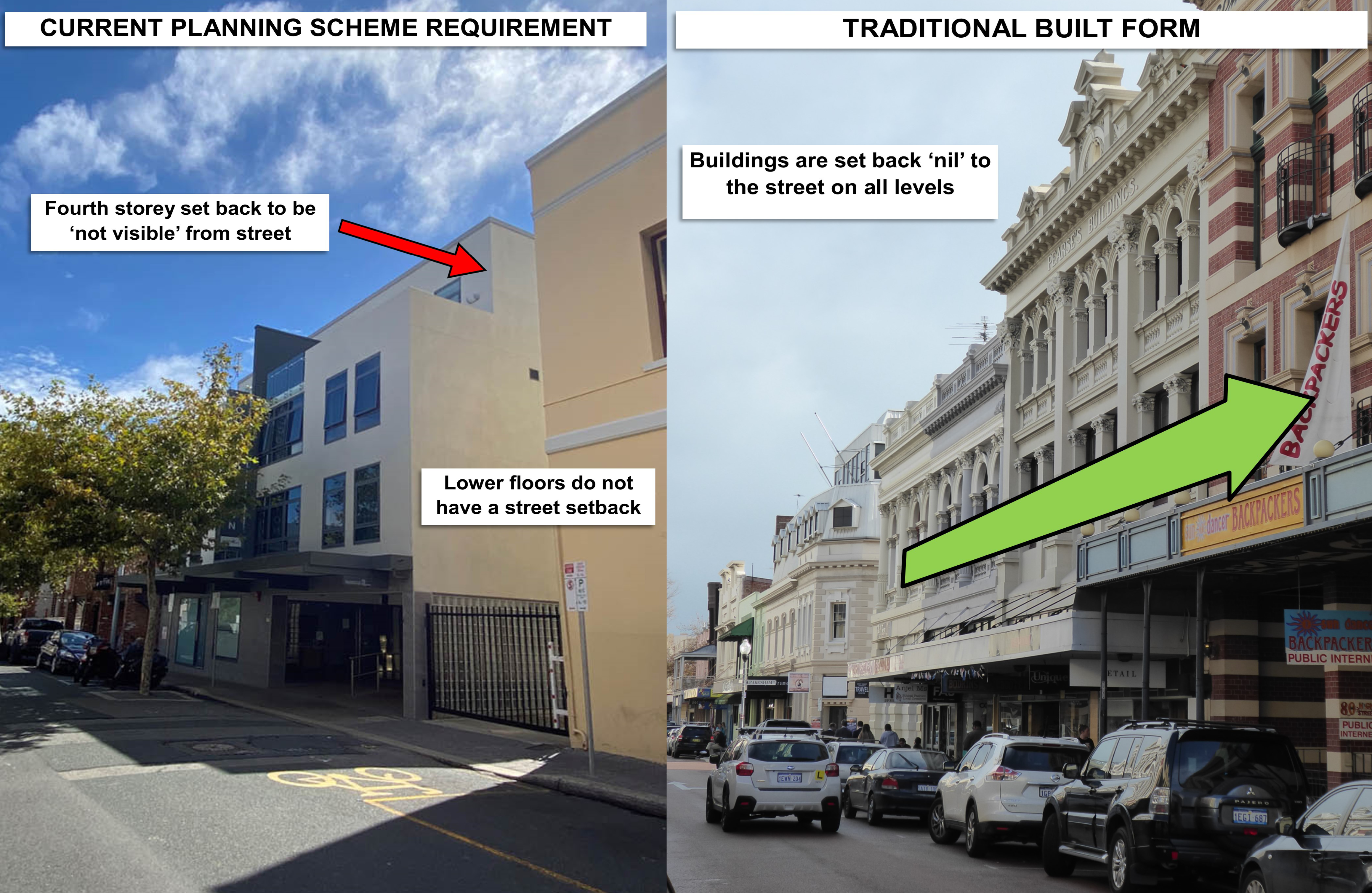Composite image showing a more contemporary building with the fourth floor setback (left) and a more traditional building that is setback nil to the street (right). Traditional buildings on High Street are set back 'nil' to the street on all levels, contributing to the precinct's unique heritage character.