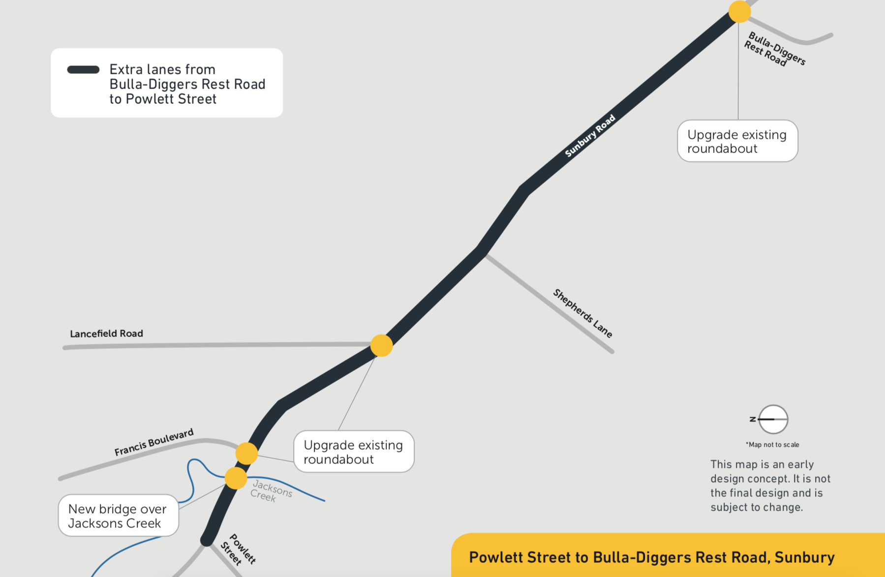 As part of the upgrade, we plan to: add an extra lane in each direction between Powlett Street and Bulla- Diggers Rest Road upgrade roundabouts at Francis Boulevard, Lancefield Road and Bulla-Diggers Rest Road build new bridge over Jacksons Creek, including path provisions, and upgrade one existing bridge install safety barriers along the road.
