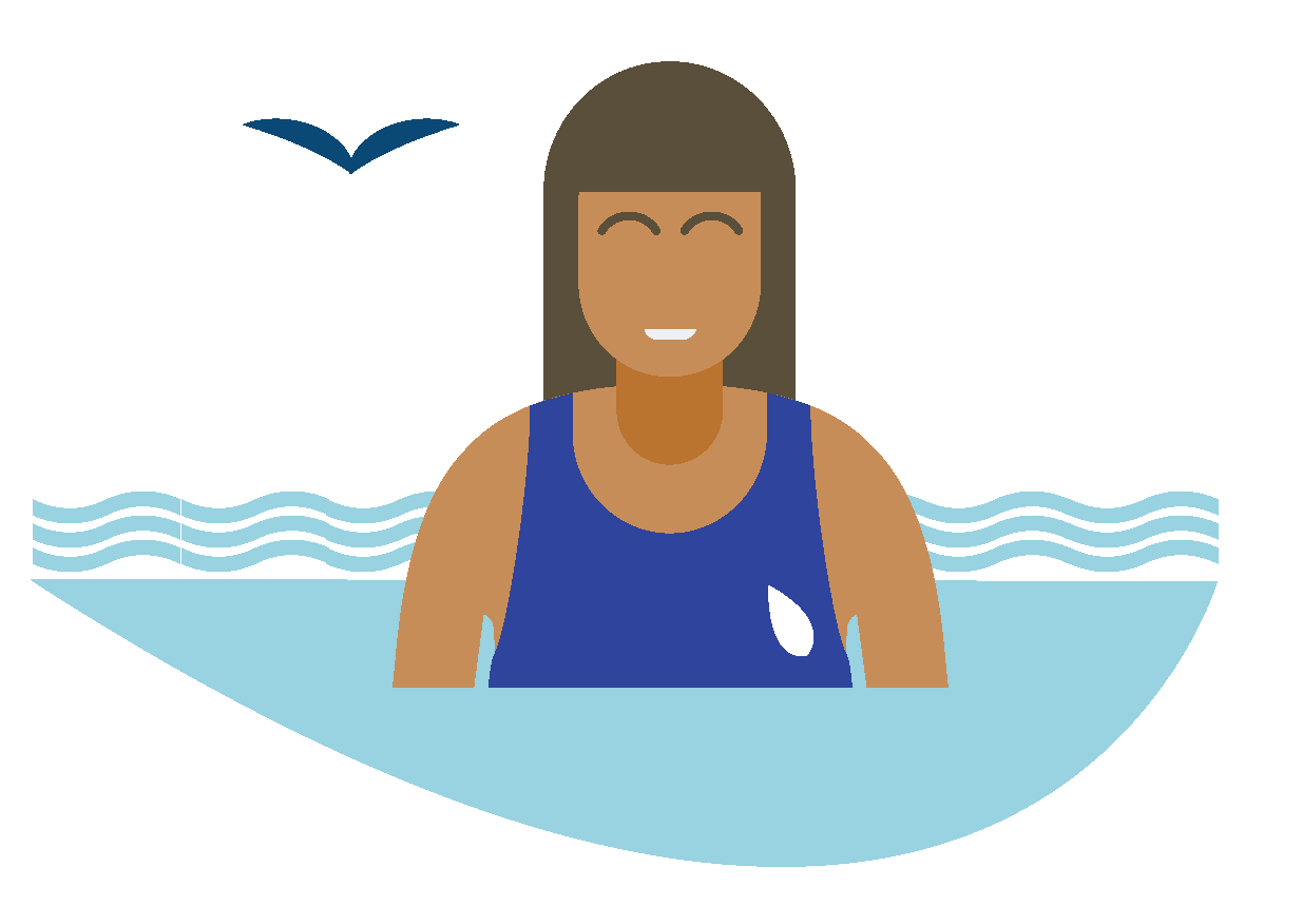 Illustration of a person swimming.