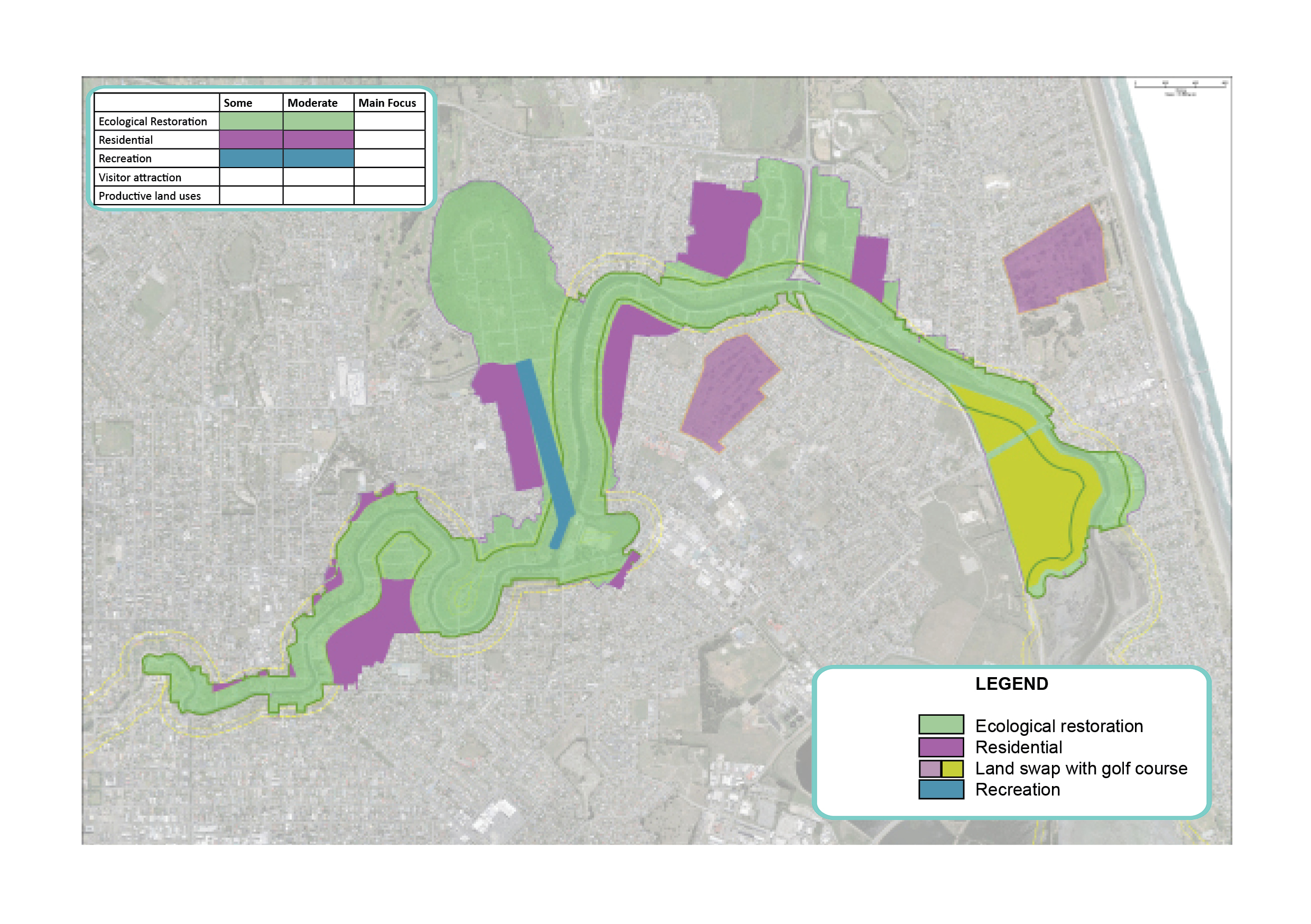 Map showing potential areas for recreation (including 1.1km out-of-river flatwater facility), ecological restoration and residential.