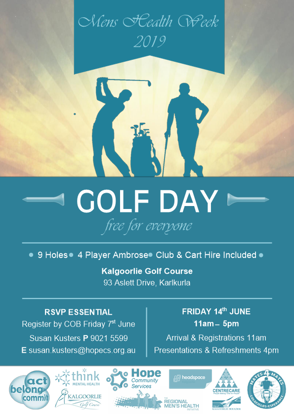 Mens health week golf day kalgoorlie poster