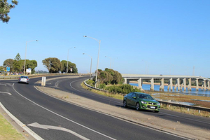 Cars travelling on phillip island road in san remo