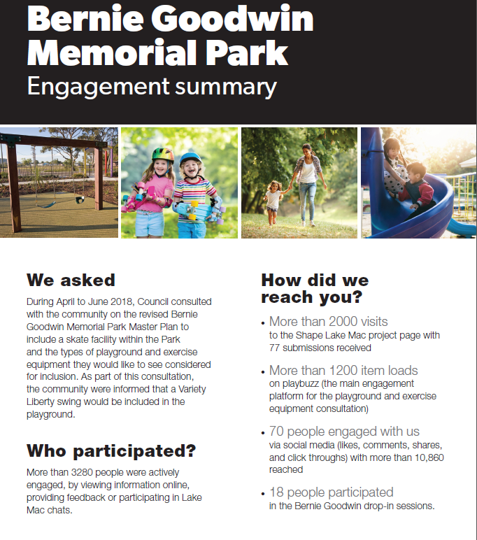 Bernie Goodwin Memorial Park engagement summary