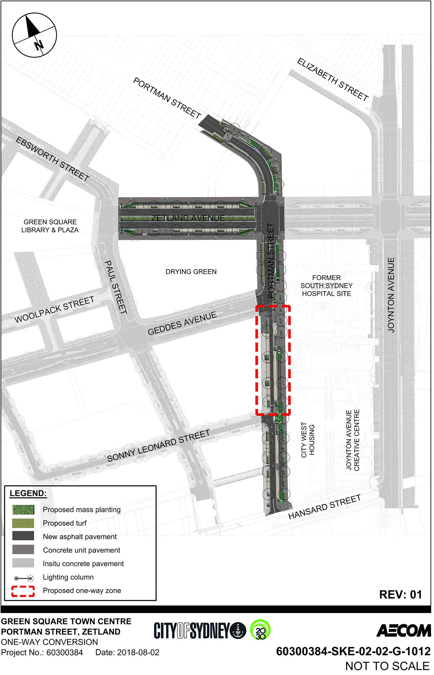 Map illustrating proposed upgrade to Portman Street south. Map shows proposed areas of mass planting, turf, new asphalt pavement, concrete unit pavement and insitu concrete pavement on Zetland Avenue, between Portman Street and Paul Street and on Portman Street between Hansard Street and 82 Portman Street. Map also shows proposed one-way zone on Portman Street between Sonny Leonard Street and Geddes Avenue.