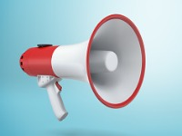 3d rendering of a single red and white electric megaphone with a on picture id894203892