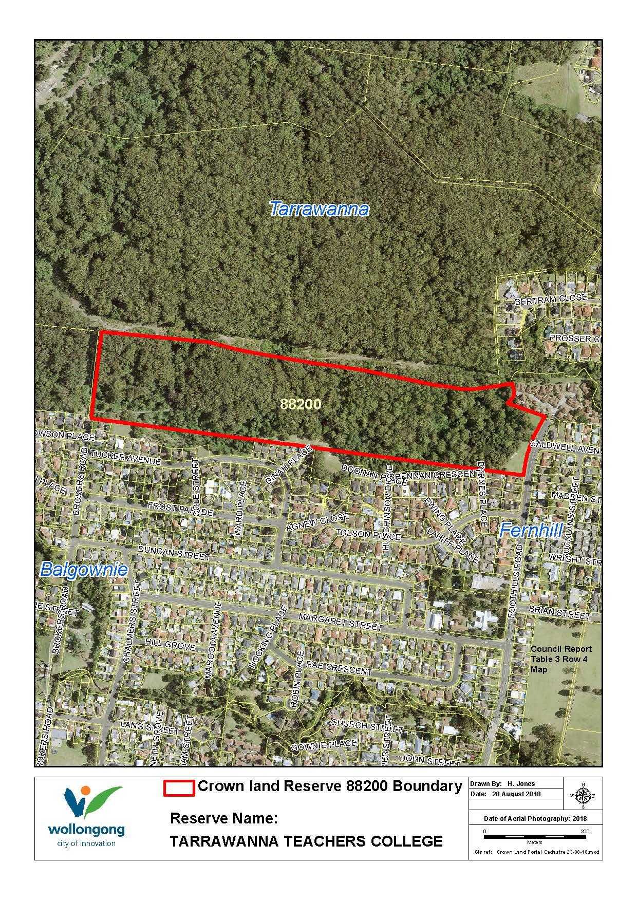 Tarrawanna teachers college reserve 88200  map z19 91154