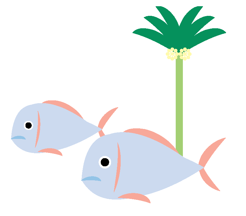 Illustration of fish and a palm tree, symbolising our actions to protect the environment.