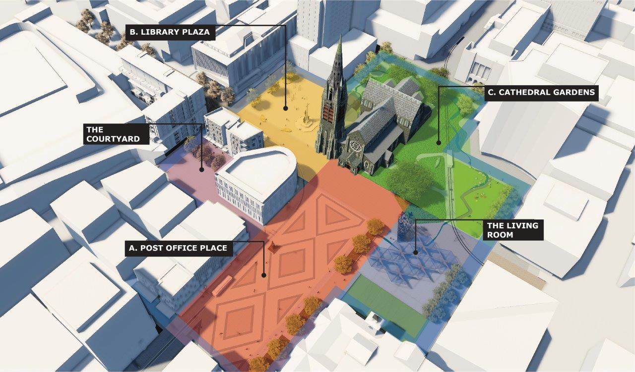 Artist's impression of potential newly configured spaces in Cathedral Square.