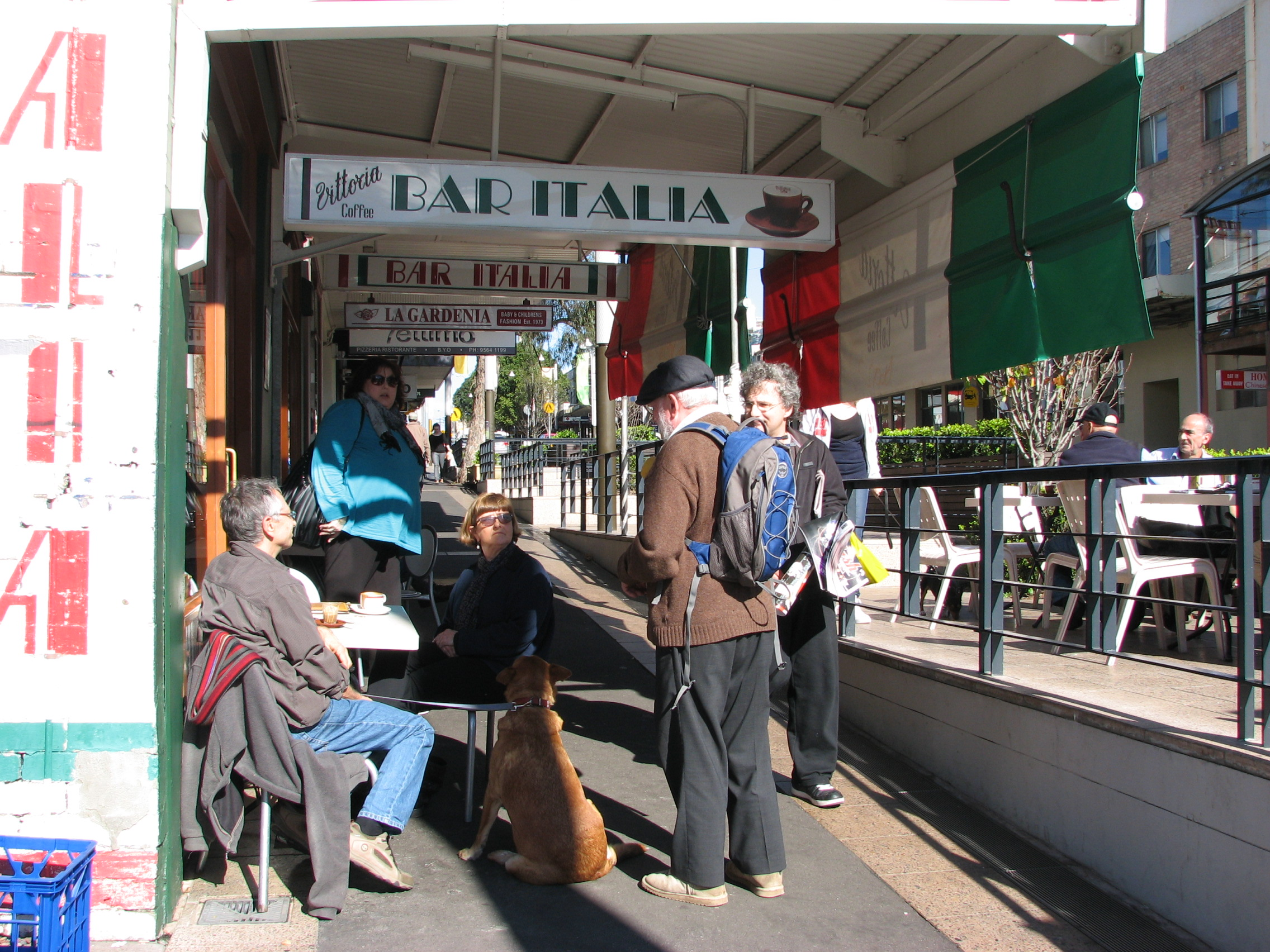 Image 20   gathering outside bar italia