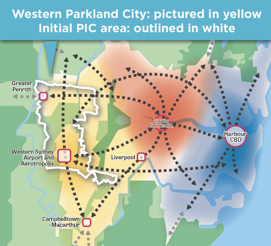 Image showing the Western Parkland City area and the initial PIC area