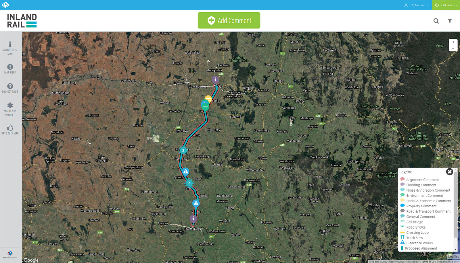 Stockinbingal to Parkes project interactive map