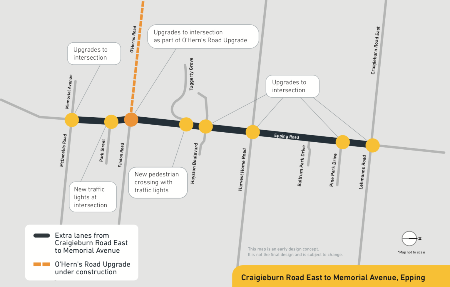 As part of the upgrade, we plan to: • add an extra lane in each direction between Craigieburn Road East and Memorial Avenue • upgrade intersections including at Craigieburn Road East and Harvest Home Road • install new pedestrian traffic signals at Taggerty Grove • build a walking and cycling path • install safety barriers along the road.